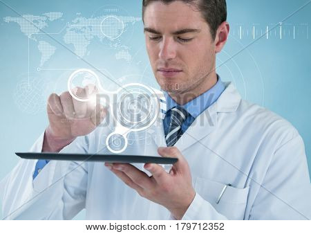 Digital composite of Man in lab coat with tablet and white interface against blue background with interface