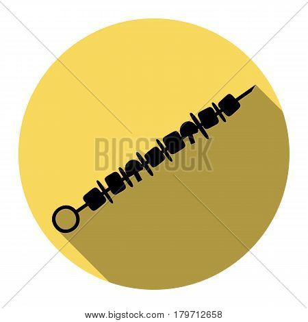 Shish kebab on skewers sign. Vector. Flat black icon with flat shadow on royal yellow circle with white background. Isolated.
