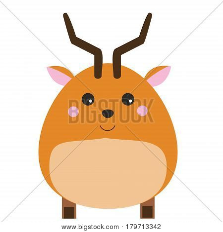 Cute kawaii antelope character. children style vector illustration. Sticker vector illustration isolated design elements for kids books