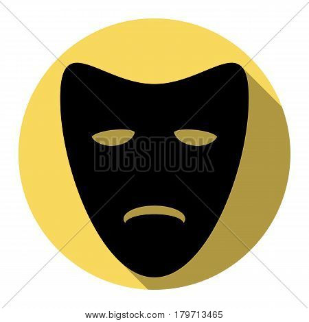 Tragedy theatrical masks. Vector. Flat black icon with flat shadow on royal yellow circle with white background. Isolated.