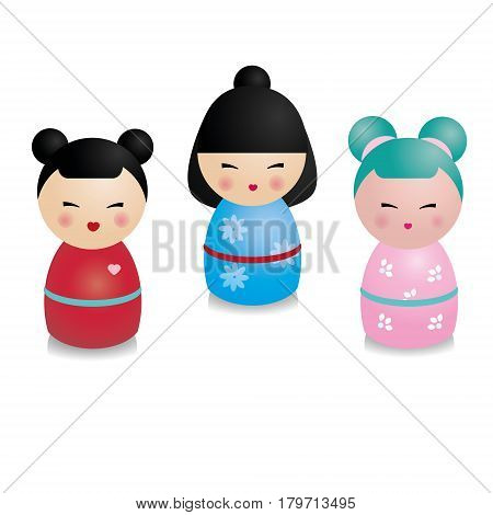 Cute kawaii kokeshi set. Traditional japanese dolls in realistic style. Stickers design elements icons. Vector set