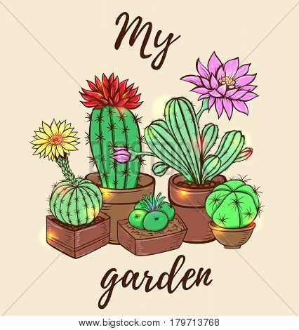Blooming cactus in a flowerpot. Hand drawn vector illustration.