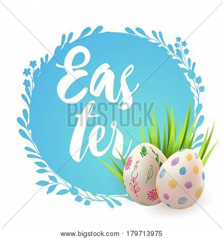 Easter card with eggs and green grass on a blue background