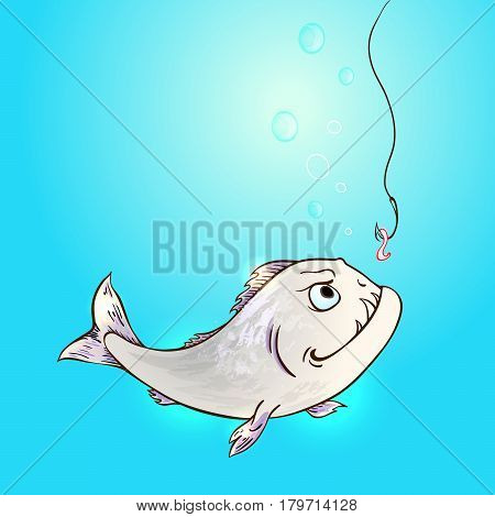 Piranha fish and worm on hook in a blue water. Hand drawn vector illustration.