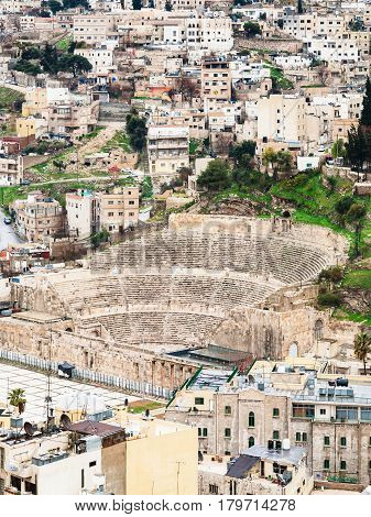 Above View Of Ancient Roman Theater In Amman Town