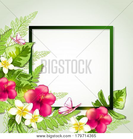 Summer frame with red tropical flowers butterflies and leaves. Vector illustration.