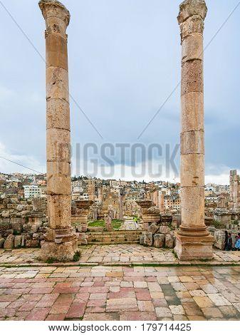 Columns Of Temple Of Artemis In Gerasa In Winter
