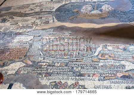 Ancient Madaba Mosaic Map On Floor Of Church