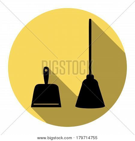 Dustpan vector sign. Scoop for cleaning garbage housework dustpan equipment. Vector. Flat black icon with flat shadow on royal yellow circle with white background. Isolated.