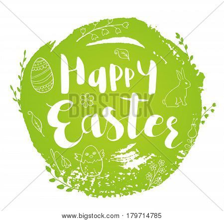 Abstract round green Easter background with lettering and doodles. Hand drawn vector illustration.