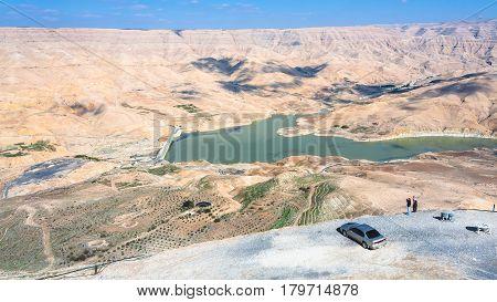 People At Viewpoint Over Al Mujib Dam In Jordan