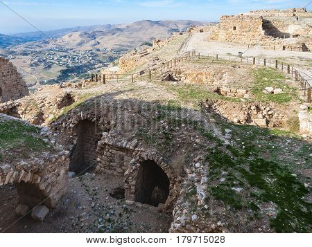 Ruined Rooms On Upper Court Of Kerak Castle