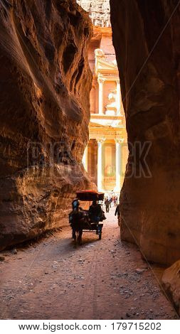 Bedouin Carriage And View Of Temple From Al Siq