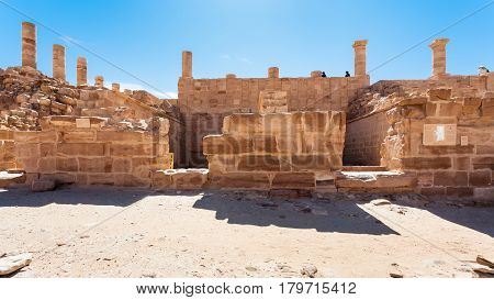 Tourists On Ruins Of Great Temple Petra Town