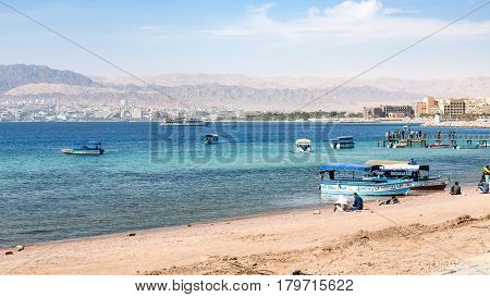 Aqaba City Beach And View Of Eilat In Background
