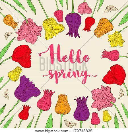 Spring decorative background with blooming tulips and lettering
