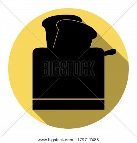 Toaster simple sign. Vector. Flat black icon with flat shadow on royal yellow circle with white background. Isolated.
