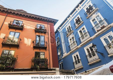 BURGOS, SPAIN - JULY 28, 2016: Burgos (Castilla y Leon Spain): exterior of historic buildings along Calle Lain Calvo