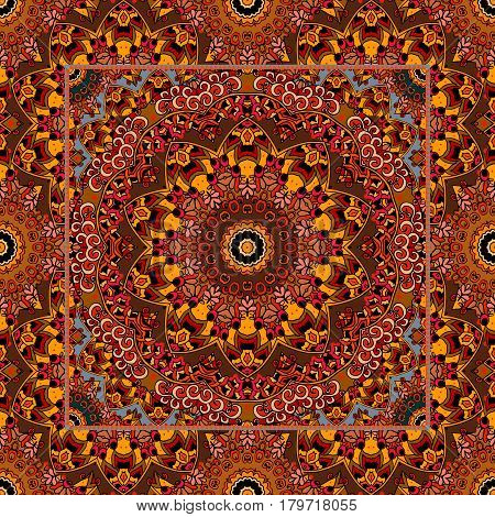Unique carpet with flower mandala and ornamental frame in arabic style. Vector illustration in warm tones.