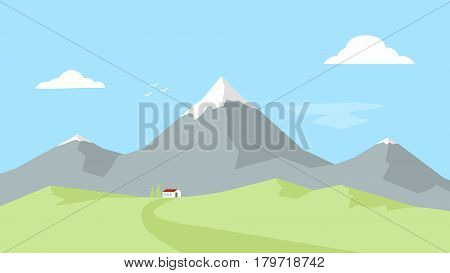 House in the mountains. Landscape with Mountain Peaks. Outdoor recreation. Vector flat illustration.