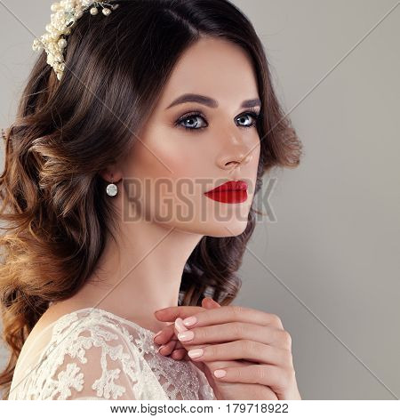 Beautiful Young Woman Fiancee with Bridal Hairstyle Event Makeup and Jewelry