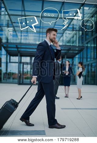 Digital composite of Business man with suitcase on phone with white speech bubbles