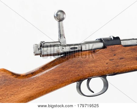 the shutter and trigger of old german carabin of 1898, closeup white isolated isolated