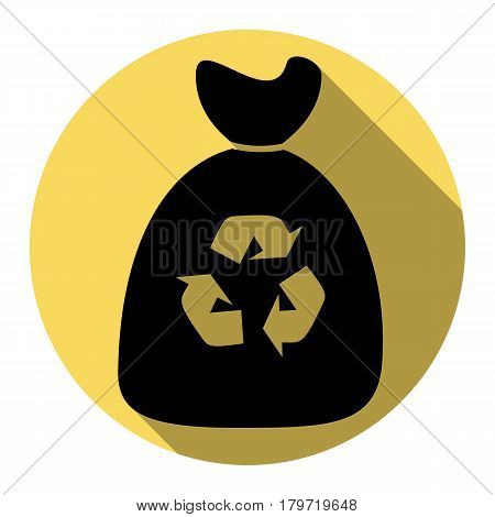 Trash bag icon. Vector. Flat black icon with flat shadow on royal yellow circle with white background. Isolated.