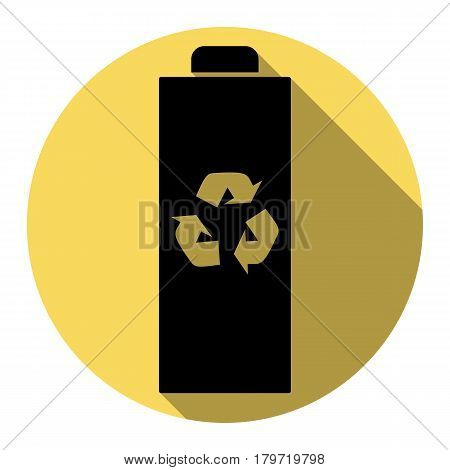 Battery recycle sign illustration. Vector. Flat black icon with flat shadow on royal yellow circle with white background. Isolated.
