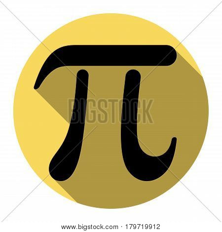 Pi greek letter sign. Vector. Flat black icon with flat shadow on royal yellow circle with white background. Isolated.