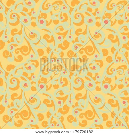 Abstract flourish seamless pattern. Gorgeous repeating background with orange and grayish green curls and red dots. Stylized branches floral vector pattern