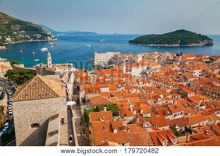 beautiful aerial view of the Dubrovnik Old Town and Lokrum island from its City Walls Croatia