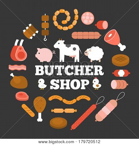 Butcher shop headline and product icon such as sausage, ham, pepperoni and animal arrange in circle shape, flat design