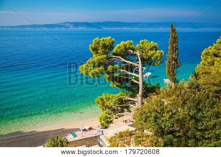 landscape with Adriatic sea in Brela resort Dalmatia Croatia