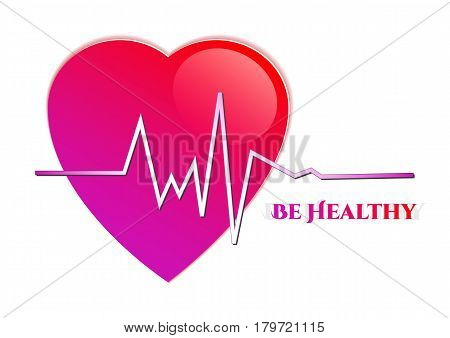 Purple heart with rhythm as medical symbol for World Health day in April 7 on white background. Vector illustration