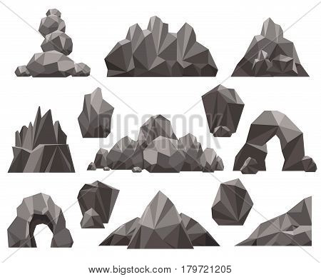 Cartoon 3d rock and stone set vector illustration. Mountain rocks and pile of stones isolated on white background