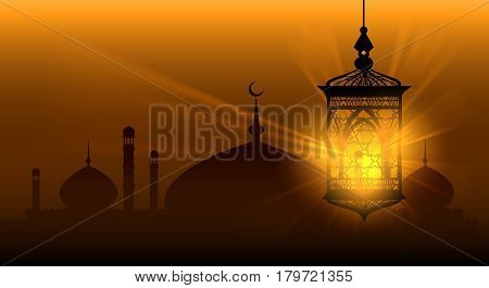Arabian nights ramadan kareem islamic background ramadane arabic lamp or arab lantern vector background