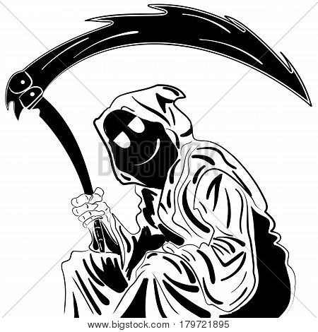 Grim Reaper. Illustration. ink sketch hand drawn Isolated vector. Vintage. design for Halloween