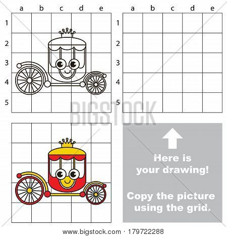 Copy the picture using grid lines, the simple educational game for preschool children education with easy gaming level, the kid drawing game with Funny Chariot