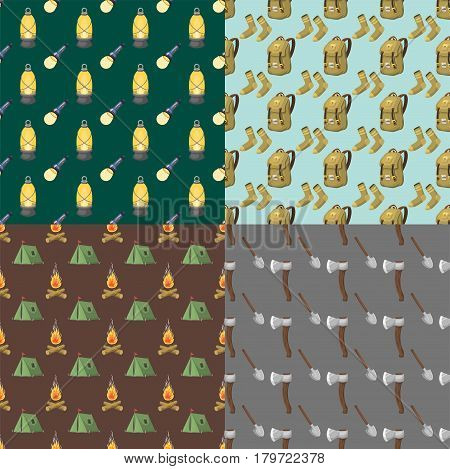 Hiking seamless pattern camping equipment base camp gear and accessories hike outdoor elements cartoon journey vacation travel vector illustration. Trekking outing summertime leisure recreation.