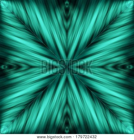 Striped Angular Background of Turquoise Colors. Cyan Texture of Symmetric Intersecting Lines from Center.