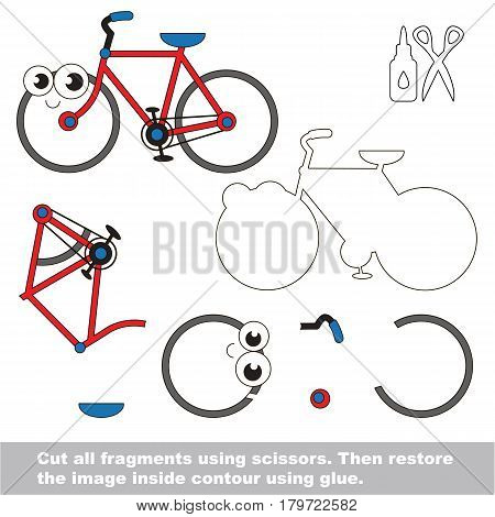 Use scissors and glue and restore the picture inside the contour. Easy educational paper game for kids. Simple kid application with Two wheeled funny bicycle
