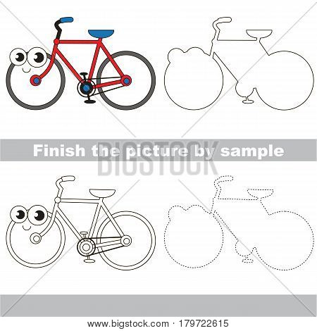 Drawing worksheet for preschool kids with easy gaming level of difficulty, simple educational game for kids to finish the picture by sample and draw the Two Wheelwd Bicycle.