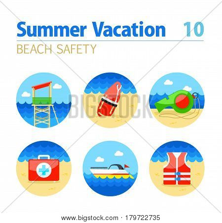 Lifeguard beach safety vector icon set. Summer time. Vacation