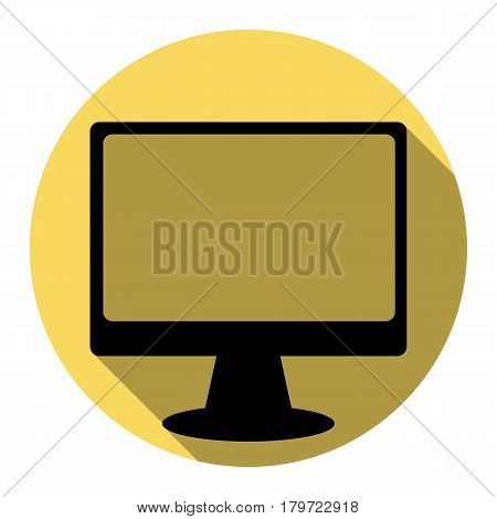 Monitor with brush sign. Vector. Flat black icon with flat shadow on royal yellow circle with white background. Isolated.