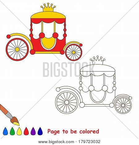 The Red Princess Chariot with Gold Crown to be colored, the coloring book for preschool kids with easy educational gaming level.