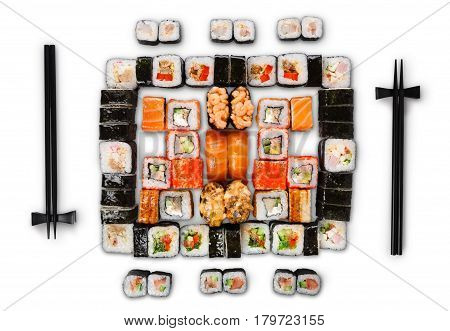 Japanese food restaurant delivery - sushi maki, unagi, gunkan and roll big party platter set isolated on white background, above view