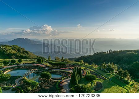 Mountain views, Landscape,Viewpoint on Doi Inthanon. The highest vantage point in Thailand Overlooking the mountains. And sunset, a view that can see both sunrise and sunset ,Nature, Landscape.