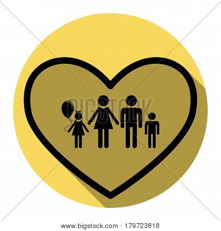 Family sign illustration in heart shape. Vector. Flat black icon with flat shadow on royal yellow circle with white background. Isolated.