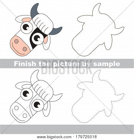Drawing worksheet for preschool kids with easy gaming level of difficulty, simple educational game for kids to finish the picture by sample and draw the White and Black Cow Head.